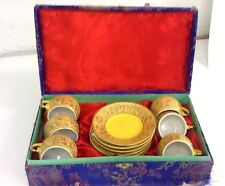 Pansy Tea Set. 12 PIECE SET, Yellow and Gold