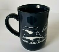 VINTAGE Otagiri Handcrafted Etched Dolphins Coffee Mug Cup White Navy Blue EUC