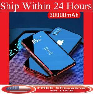 Qi Wireless Power Bank 30000mAh Backup Portable Charger External Battery Backup
