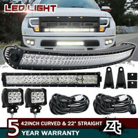 """42Inch LED Curved Light Bar Combo + 22"""" + 4"""" 18W PODS SUV 4WD UTE FORD TRUCK 40"""""""