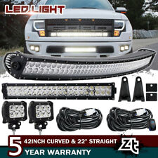 "42Inch LED Curved Light Bar Combo + 22"" + 4"" 18W PODS SUV 4WD UTE FORD TRUCK 40"""