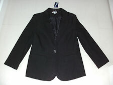 Valleygirl: Size: 10-12. Stylish Black 1 Button, Bengaline, Fully-Lined Jacket