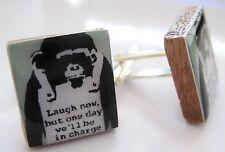 Banksy Inspired Cufflinks Monkey handmade banksy cufflinks laugh now monkey