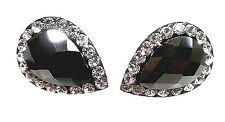 SOLID 925 Sterling Silver Black Teardrop Faceted Crystal Earrings Studs 7x10mm