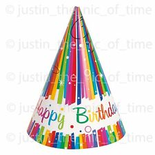 Rainbow Ribbons RED YELLOW ORANGE PINK GREEN Girls Birthday Party HATS x8