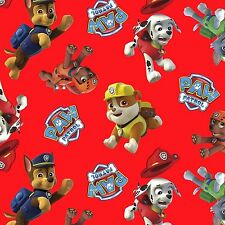 Paw Patrol Toss Puppies on Red 100% Cotton Fabric by the Yard