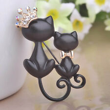 Black Double Cat  Curled Tail Crown Crystal Rhinestone Brooch Pin Women Jewelry