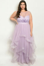 Womens Plus Size Lavender Purple Ruffled Gown Maxi Dress 2XL Beaded Formal