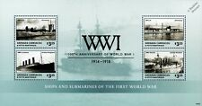 WWI 1914-1918 Warships & SM U-Boat Submarine Stamp Sheet (2014 Grenada)
