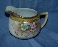 Nippon Pitcher Moriage Floral Gold Trim Porcelain Hand Painted Vintage