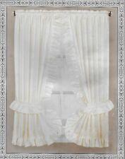 Fabric Window Curtain Set Water Repellent 36 x 54 Bath Elegance Beige  w/Tieback