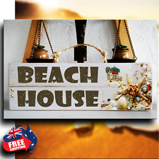 """""""BEACH HOUSE"""" Wooden Rustic Beach Plaque / Sign (FREE POST)"""