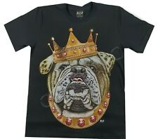 Wild Black Cotton T Shirt Bull Dog King Crown Jewels Chain Cool Ruby Red