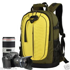 Women's Waterproof College DSLR Camera Backpacks Green Yellow for Girls Juniors