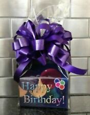 Happy Birthday Purple Balloons Candy Gift Box-Basket Wrapped With  Bow & Card
