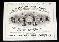 1902 OLD MAGAZINE PRINT AD, 20TH CENTURY HEAD-LIGHTS, FOR AUTOMOBILE & BICYCLES!
