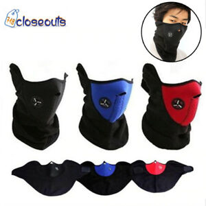 Motorcycle Bike Cycling Winter Half Face Mask Skull Ski Snow Fleece Neoprene