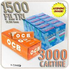 3000 Cartine OCB ORANGE CORTE ARANCIONI + 1500 Filtri RIZLA SLIM 6mm + ACCENDINO