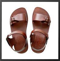 Leather Jesus Mens Brown Canaan Roman Sandals Gladiator UK Size 4-12 EU 36-47