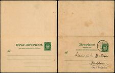 L531 Norway double marine postcard stationery Trondhjem 1907