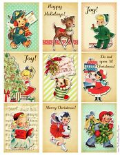 Retro Christmas Cuties  Glossy Finish Card Topper - Craft Embellishment