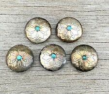 TURQUOISE Sterling Silver Native American Southwestern 925 BUTTON COVERS Vintage