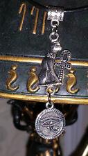 ☽✪☾ Egyptian Bastet Cat & Eye of Ra Silver Tone Pendant Leather Necklace