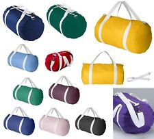 NYLON SPORTS BAG W/OPTIONAL SHOULDER STRAP, ROUND ENDED SILHOUETTE, WEB HANDLES