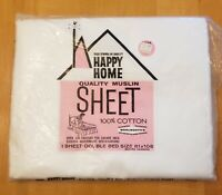 Happy Home Muslin Double Flat Sheet Woolworth NIP 100% Cotton Made In USA