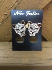 Cute New 9K Yellow Gold Filled Crystal / CZ Lion Panther Head Post Stud Earrings