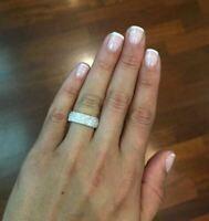 14k White Gold Finish 2Ct Round VVS1D Diamond Half Eternity Halo Engagement Ring