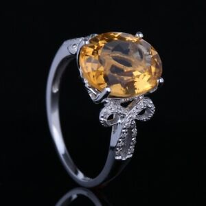 Solid 14K White Gold Oval Cut Citrine Natural Diamond Jewelry Engagement Ring