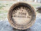 Antique Peter Straub & Sons Wooden Keg Beer Barrel St Mary's Pa Pre-Prohibition