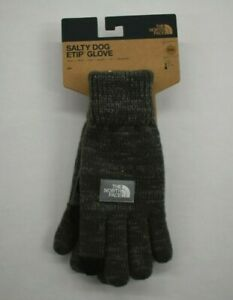 The North Face Mens Graphite Gray Etip Salty Dog Knit Tech Gloves Suede Trim S/M