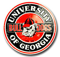 "GEORGIA BULLDOGS 12"" ROUND METAL SIGN RETRO MAN CAVE SPORTS GAME ROOM UNIVERSITY"