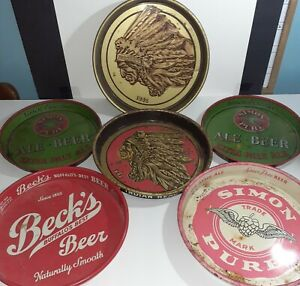 Rare Vintage Beer Tray Lot of 6 Iroquois Beverage Simon Pure Becks Beer Tray Lot