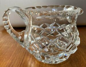 Vintage Diamond Cut Glass Retro Milk Creamer Jug 8cm Tall