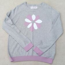 BARBOUR Girls Grey Long Sleeved Flower Design 100% Cotton Jumper 14-15 Yrs XXL
