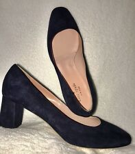 $228 Kate Spade Italy Sz 10 Dolores Suede Navy Blue Block Heel Pumps Classic