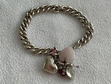 HEAVY SILVER LADIES BRACELET & HEART CHARMS
