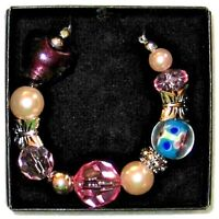 "Avon Beaded Chic Necklace Floral 20 1/2"" Has Butterflies."