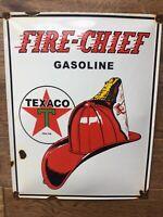 "Vintage Texaco Fire Chief Porcelain Sign 16""x13"" Gas & Oil Sign Texaco Gas"