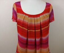 Spense Women's Red,Yellow and Pink Scoop Neck Blouse size Large 60417-1 B2