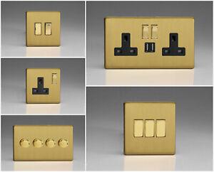 Varilight Screwless Brushed Brass Range - Black Inserts & Brass Switches