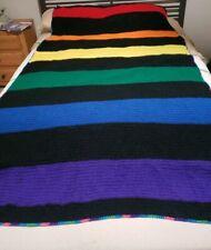 Vintage Handmade Striped Afghan Blanket Afgan Crochet Crocheted Queen