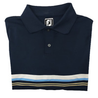 Footjoy FJ Men's Large Athletic Fit Blue Stripe Performance Golf Polo Polyester