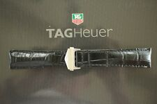 TAG HEUER 22MM BLACK CROCODILE DEPLOYMENT WATCH BAND WATCHBAND BRACELET STRAP B