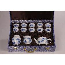 Chinesisches Teeservice aus Porzellan mit Teedose 13-teilig China blau-weiß