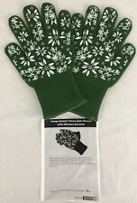 TEMPTATIONS GLOVES OVEN SAFE MITTS GREEN W SILICONE ACCENTS SMALL NEW KITCHEN