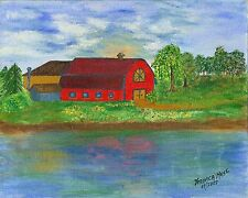 Country lake painting  water farm signed  trees artist aceo original print Muse